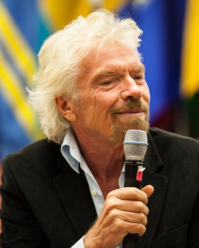 Head shot of Virgin CEO and founder Richard Branson.